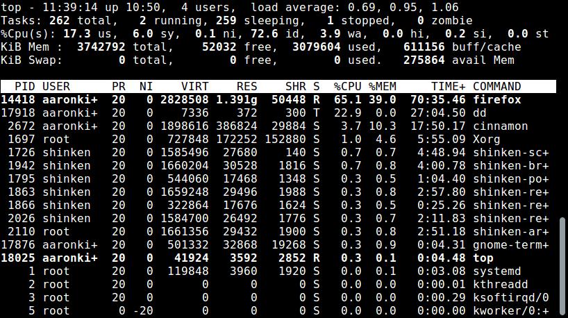 Linux中的CPU CPU使用情况