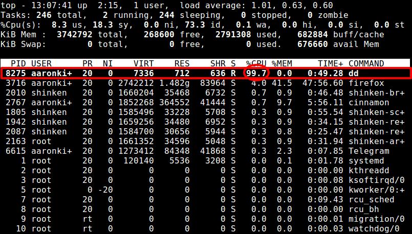 监视dd命令CPU使用情况